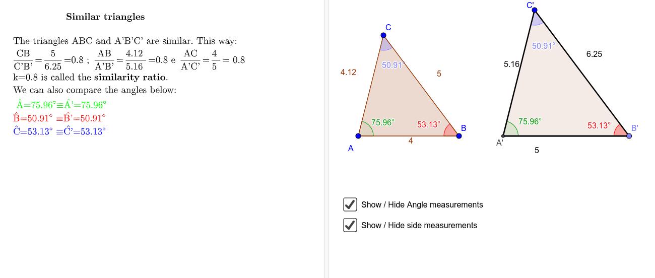 Similar triangles  Press Enter to start activity