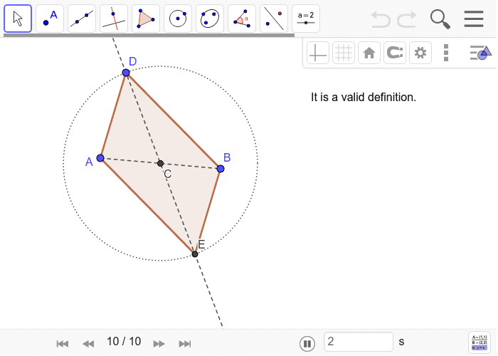 Solution to Parallelogram Construction 5: Press Enter to start activity