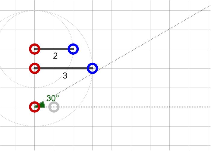 과제6. 두 변의 길이가 2, 3이고 2인 변의 대각의 크기가 30º인 삼각형(SSA) 활동을 시작하려면 엔터키를 누르세요.