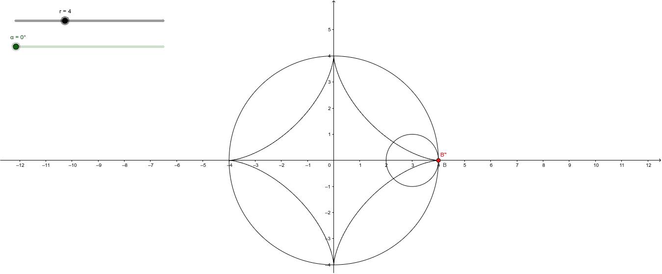 半径rの円を内接しながら半径1の円が滑ることなく回転した ワークシートを始めるにはEnter キーを押してください。