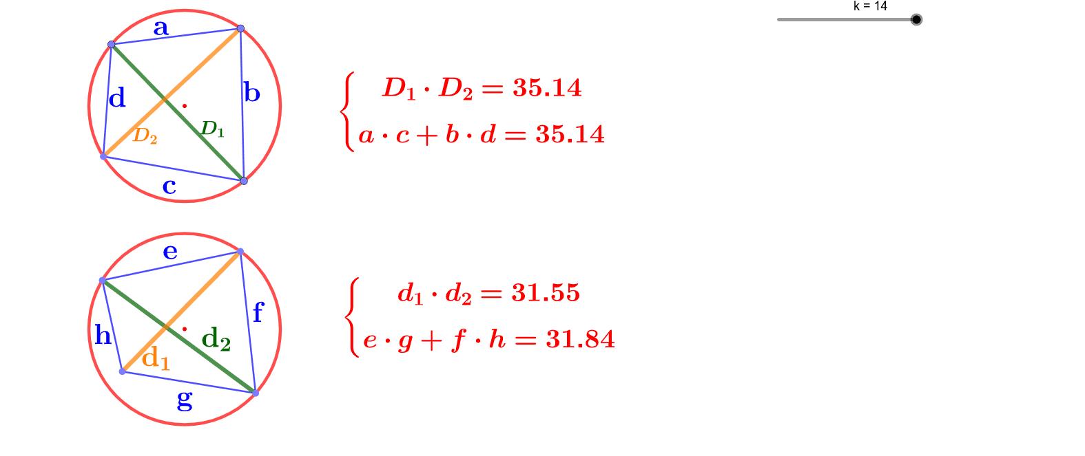 Si un cuadrado es inscriptible, el producto de las diagonales es igual a la suma de los productos de los lados opuestos. Pulsa el botón de Reproducción (esquina inferior izquierda). Presiona Intro para comenzar la actividad