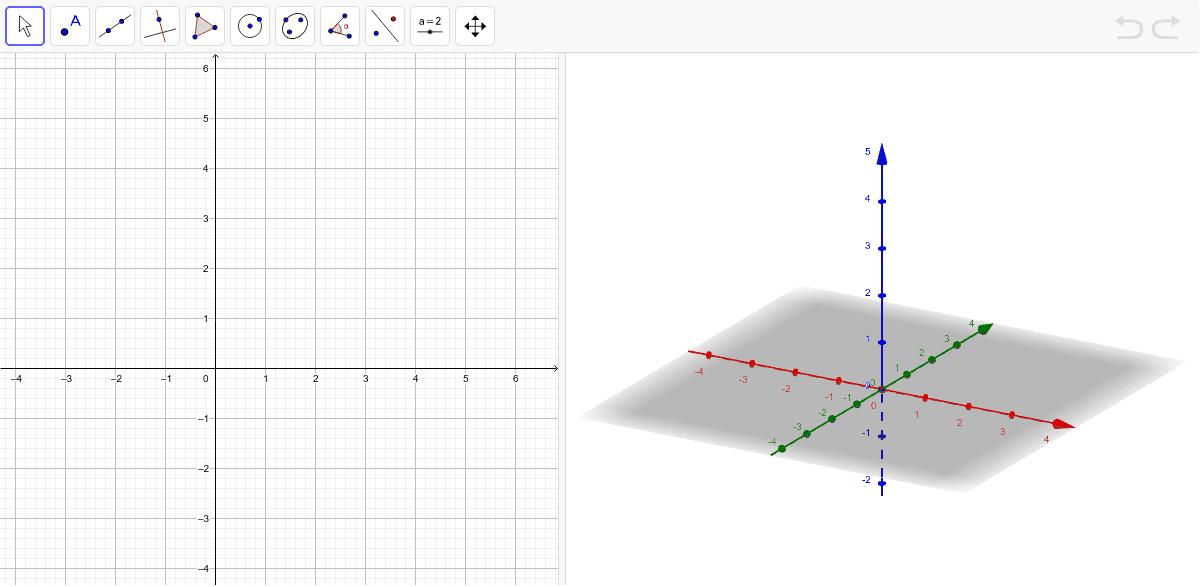 En el siguiente applet dibuja, en el plano 3d los cuerpos geométricos que observaste en la 3° dimensión. ¿Qué observas en el plano 2d? Presiona Intro para comenzar la actividad