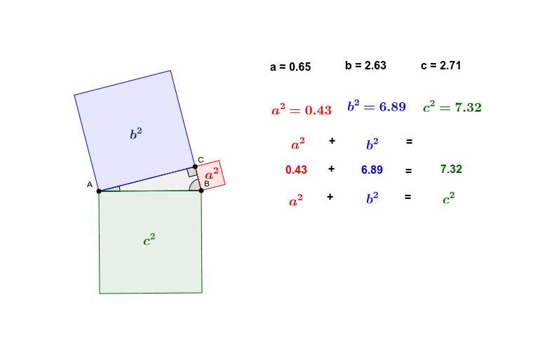 Bewege die Punkte A, B und C und beobachte die Werte. Drücke die Eingabetaste um die Aktivität zu starten