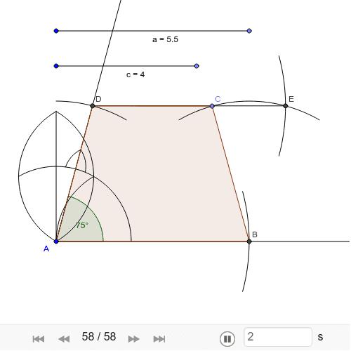 Конструиши једнакокраки трапез ако је дато: основица a = 5,5cm, крак c = 4cm, угао alpha = 75 степени. Press Enter to start activity