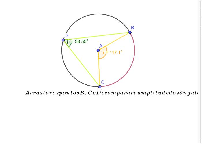 Amplitude de um ângulo inscrito Press Enter to start activity