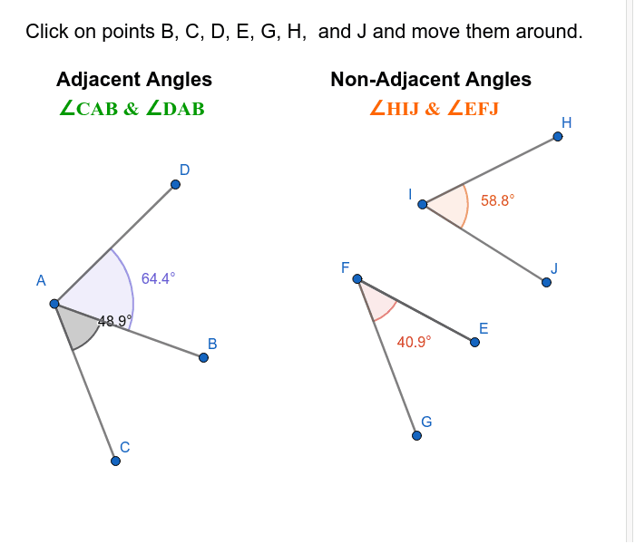 Angle Relationships - Adjacent vs Non-Adjacent Angles Press Enter to start activity