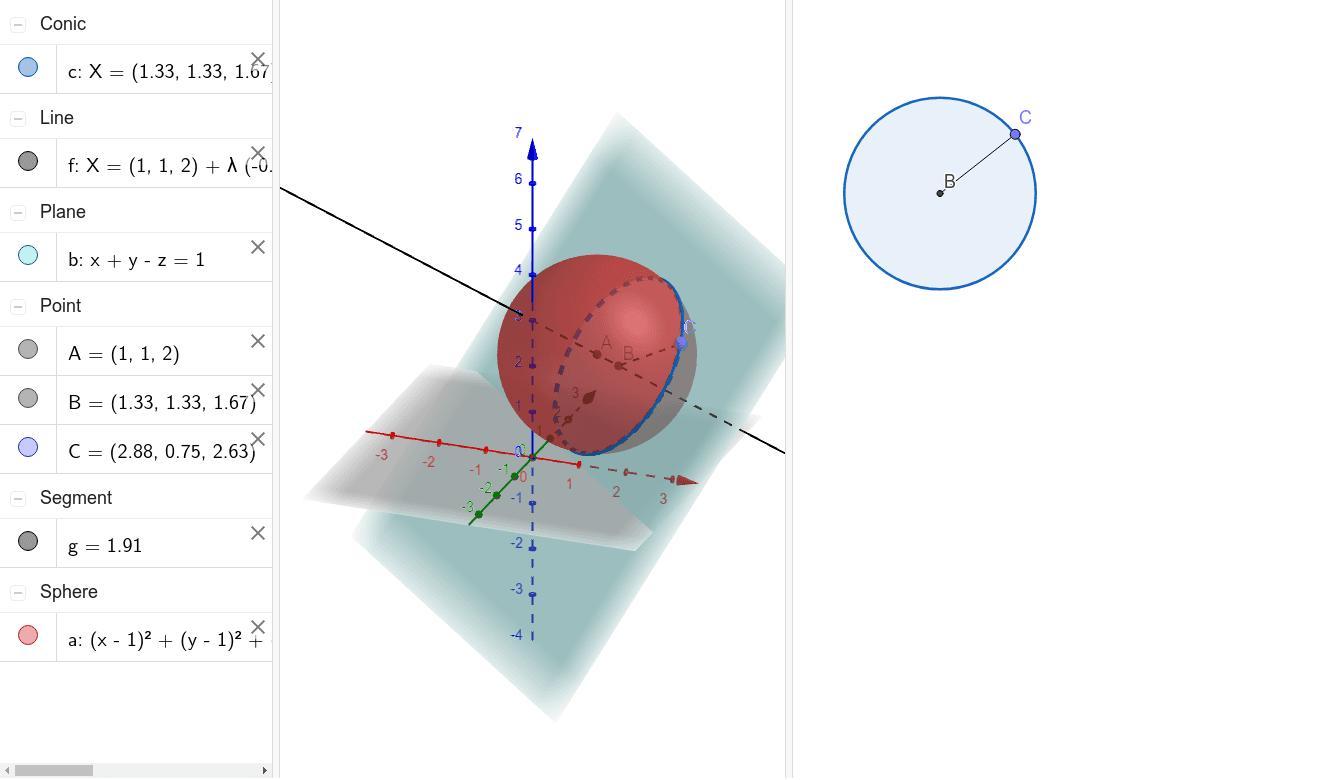 Intersección de una esfera y un plano Presiona Intro para comenzar la actividad