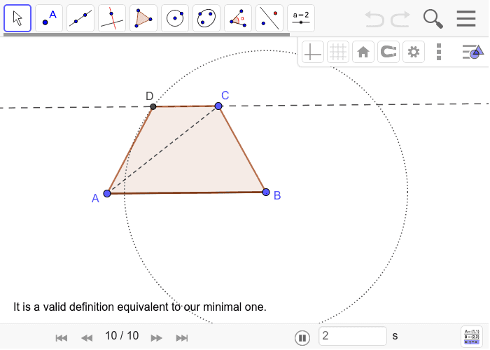 Isosceles trapezoid Construction 4: Press Enter to start activity