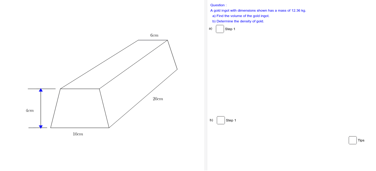 Test question # 13 Find the volume and density in the diagram Press Enter to start activity