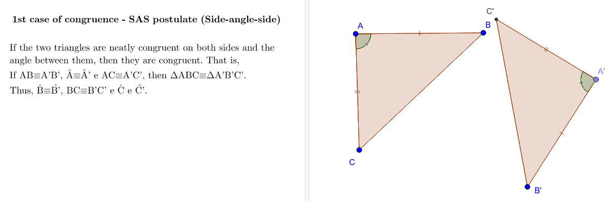 These are properties that allow us to conclude that two triangles are congruent from just three determined congruences. Press Enter to start activity