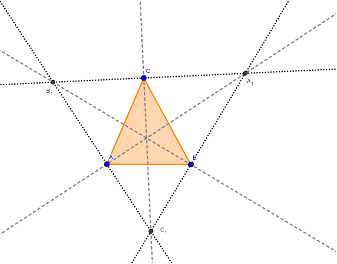Gibert Point X(24)= Perspector of Triangle ABC and the Triangle of the reflections of the Prasolov Point X(68) in the sides of the Excentral Triangle. Press Enter to start activity