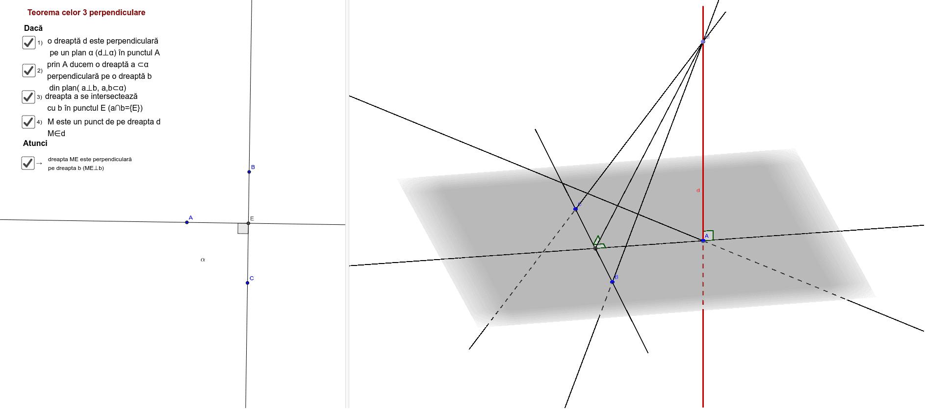 teorema celor trei perpendiculare Apăsați Enter pentru a începe activitatea