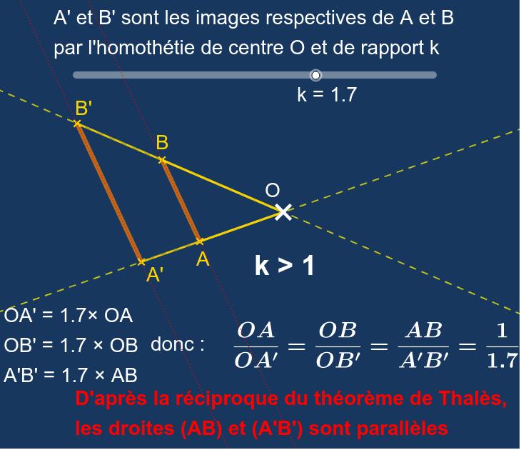 """Utiliser le curseur pour faire varier le rapport k de l'homothétie. Les points A, B et O peuvent être déplacés. Tapez """"Entrée"""" pour démarrer l'activité"""