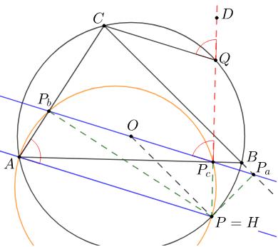 Obrázek 6.7: Rovnoběžka se Simsonovou přímkou pro případ P=H Zahajte aktivitu stisknutím klávesy Enter