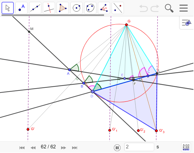 この三角形はDを動かしても相似です。DはAB上にある点なので、頂点G'はやはり一直線上を動きます。 ワークシートを始めるにはEnter キーを押してください。