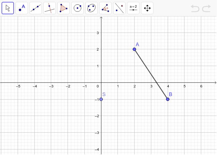 5. Rotiraj dužinu AB za -90° oko središta rotacije S.(smjer kazaljke na satu). Pritisnite Enter za pokretanje.