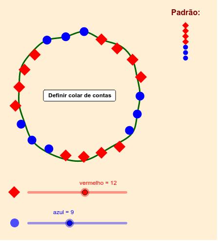 Selecione os números de contas vermelhas e azuis e depois defina o colar Pressione Enter para iniciar a atividade