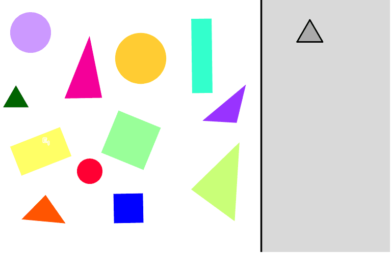 Which shapes on the left side are triangles? Drag each triangle over to the right side.  Press Enter to start activity