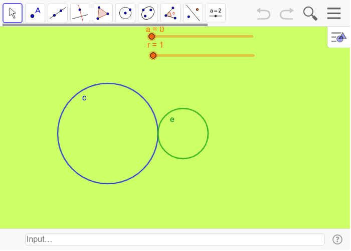 Drag the slider 'a' to move the green circle. Press Enter to start activity