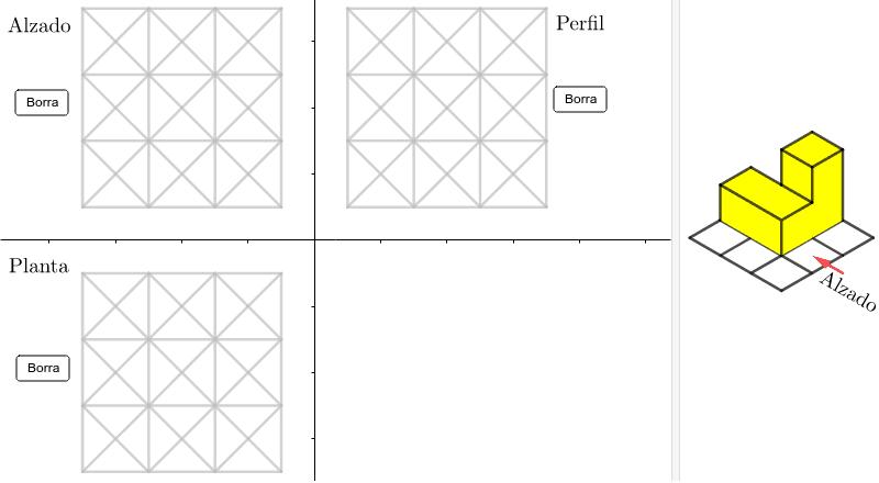 Pulsar sobre los segmentos hastas que el trazado coincida con las vistas de la figura de la derecha Presiona Intro para comenzar la actividad