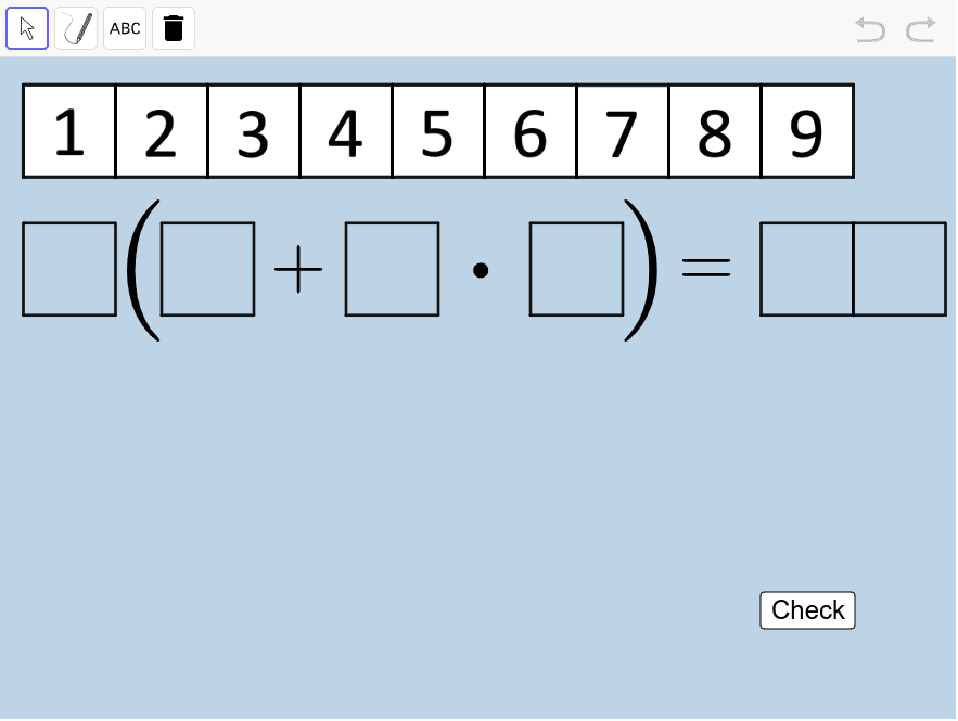 Create another true number sentence (equation) different from the one you made above. Once you do, use the PEN or TEXT tools to clearly illustrate, step by step, how your sentence is correct. Press Enter to start activity