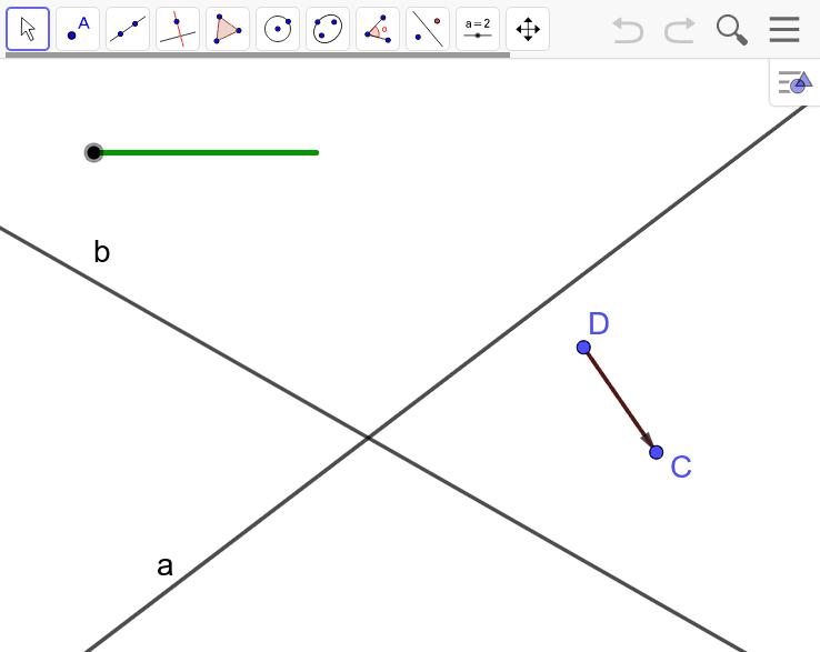 Пример 1. Даны две пересекающиеся прямые a и b и отрезок CD, который не параллелен этим прямым. Постройте параллелограмм ABCD, вершины A и B которого лежат соответственно на прямых a и b. Press Enter to start activity