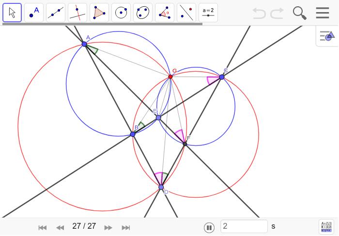 証明・・・最初に△ADFと△BCDの外接円の交点をGとする。そうすると、緑と桃の角度がそれぞれ等しくなるので、Gを含めた4点ABEGとGEFCはそれぞれ同一円周上にある。 ワークシートを始めるにはEnter キーを押してください。