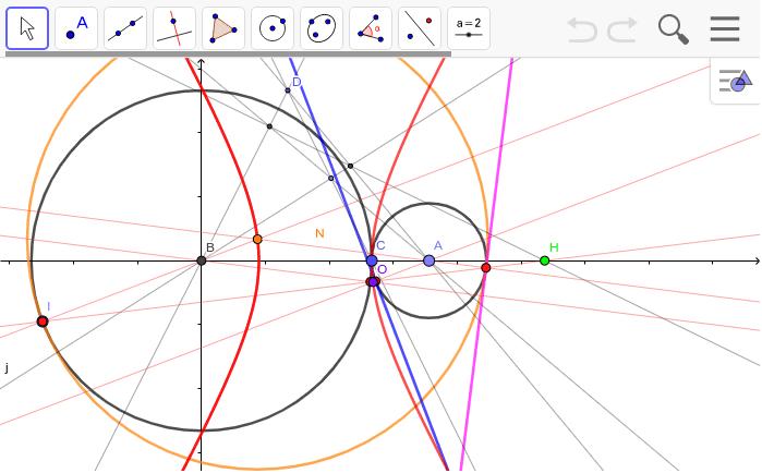 円Aを円Bの中に入れると、赤い曲線が双曲線から楕円になる。赤い曲線は二円に接する円の中心の軌跡。HはCのABに対する外分点。3円が外接する場合に3円と内接する円を描くにはどうしたらいいのだろうか?⇒アポロニウスの3円問題 ワークシートを始めるにはEnter キーを押してください。