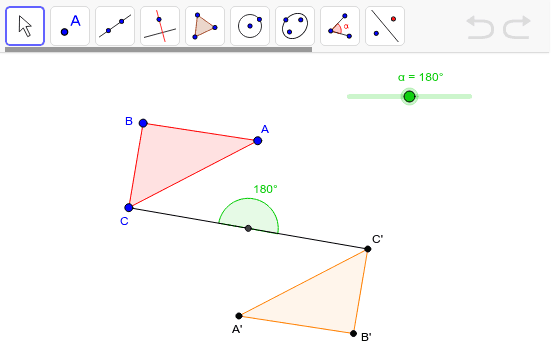 Explore this rotation and measure the angles made between the pre-image points, the point of rotation and the corresponding image points using the angle tool. What do you notice? Write your response in the box below. Press Enter to start activity