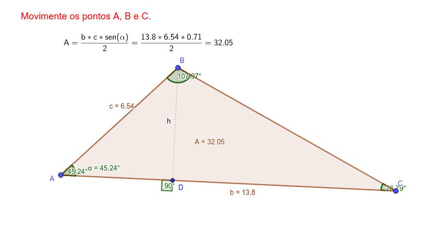 """CONSTRUÇÃO 4: Manuseando os pontos A, B e C, obtemos a área do triângulo (ABC) em função dos lados """"b"""" e """"c"""" e o ângulo α, compreendido entre eles. Press Enter to start activity"""