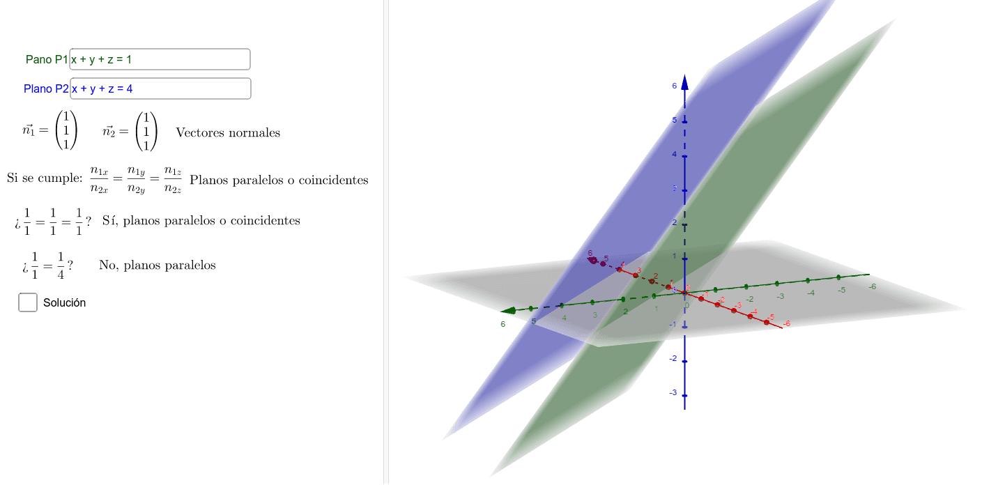 Modifica los planos P1 y P2 para ver la posición relativa entre ellos. Posteriormente, clica en solución para ver la distancia entre ellos, el ángulo o la recta intersección.  Presiona Intro para comenzar la actividad