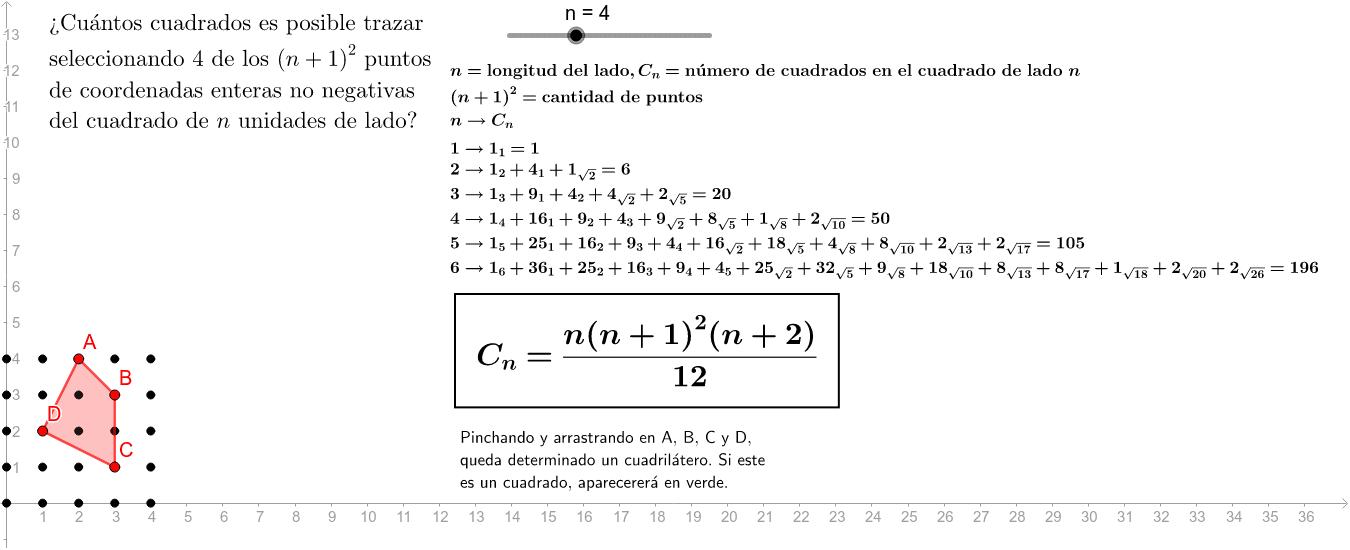 Aunque ya catalogado en la OEIS como secuencia A002415: http://oeis.org/search?q=1%2C6%2C20%2C50%2C105%2C196&sort=&language=english&go=Search Presiona Intro para comenzar la actividad