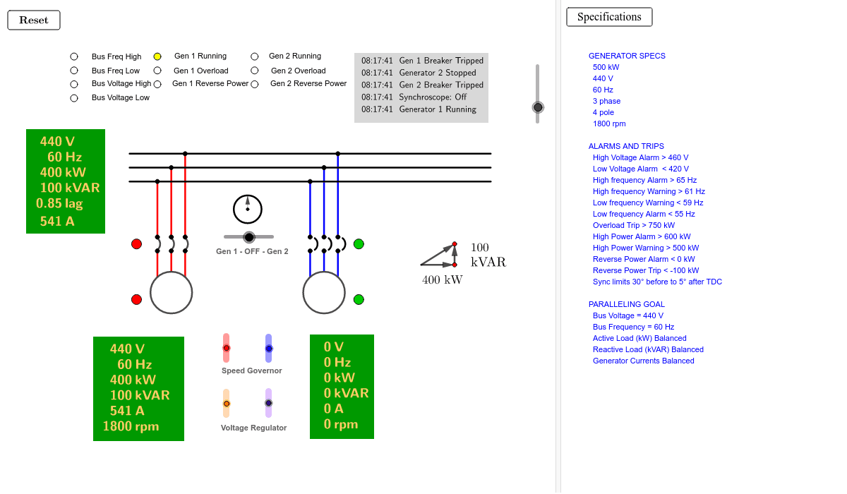Goal: Start and parallel Generator 2.  Balance active and reactive loads, while maintaining nominal voltage and frequency. Press Enter to start activity