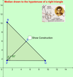 Median drawn to the hypotenuse of a right triangle