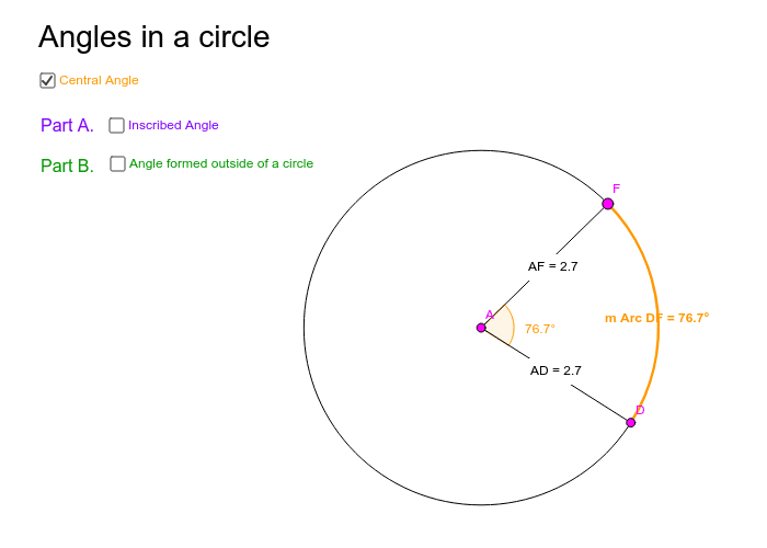 Angles in a circle Press Enter to start activity