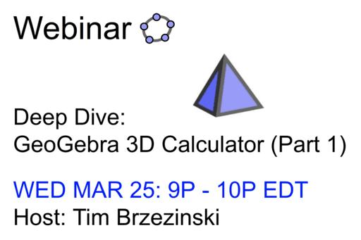 Webinar: GeoGebra 3D Calculator (Part 1)