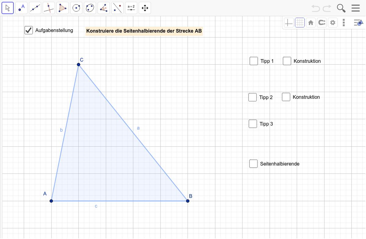 Hinführungsaufgabe 2 - Konstruktion der Seitenhalbierenden Drücke die Eingabetaste um die Aktivität zu starten