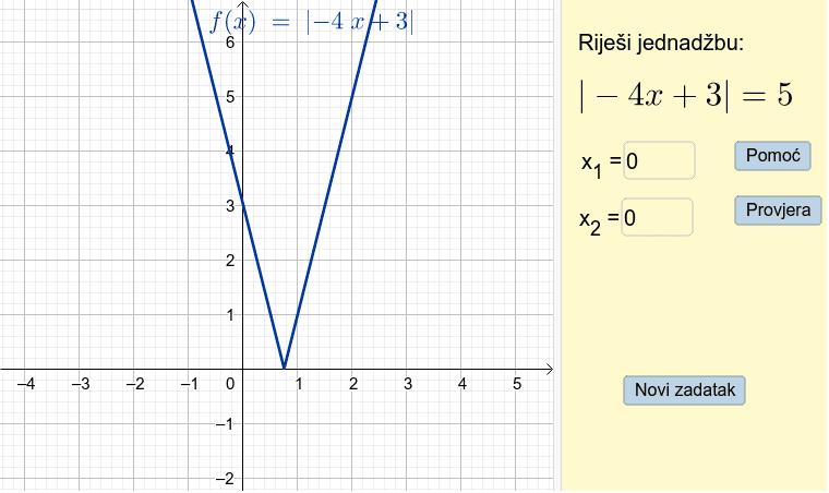 Uvježbaj rješavanje jednadžbi s apsolutnom vrijednošću Pritisnite Enter za pokretanje.