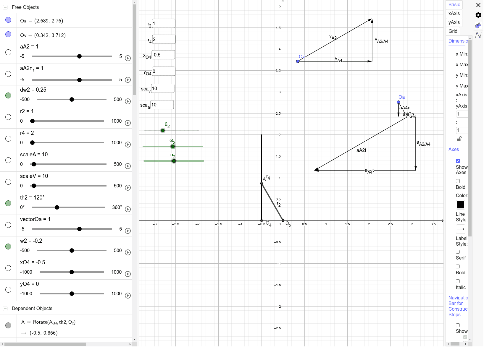 Editable position, velocity and acceleration problem calculation of a quick-return based linkage with input of velocity and acceleration on the crank. Press Enter to start activity