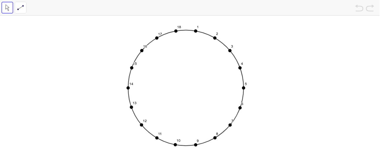 依連線規律,用直線把點連起來,製作出繡曲線圖案。(連線規則:1-7,.……,18-6) 按 Enter 鍵開始活動