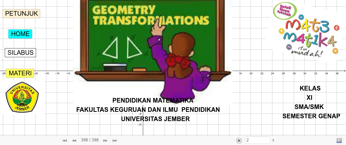 MATERI TRANSFORMASI GEOMETRI KELAS XI SMA/SMK Press Enter to start activity
