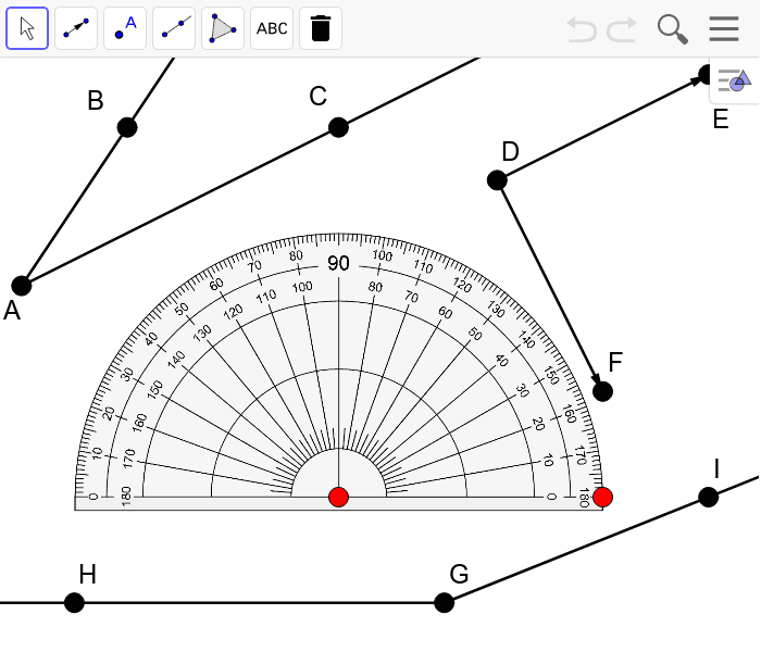 Use the points on the protractor to move it. Find and display the measure of each angle.  Press Enter to start activity