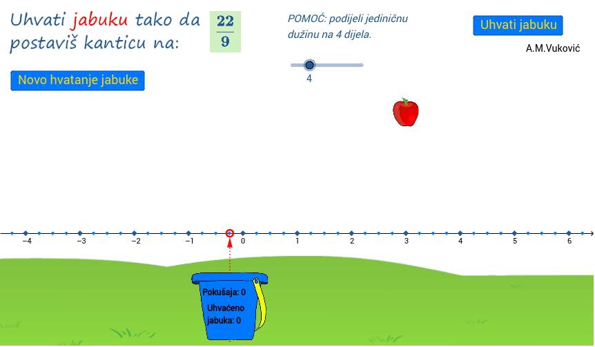 2.) Uhvati jabuku (racionalni brojevi na brojevnom pravcu) Pritisnite Enter za pokretanje.