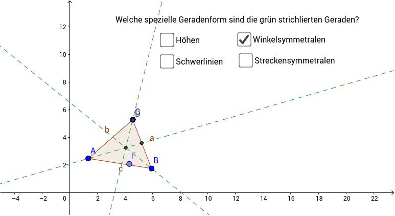 Ziehe mit dem Punkt F eine Spur und finde heraus, um welchen besonderen Punkt im Dreieck es sich handelt! Drücke die Eingabetaste um die Aktivität zu starten