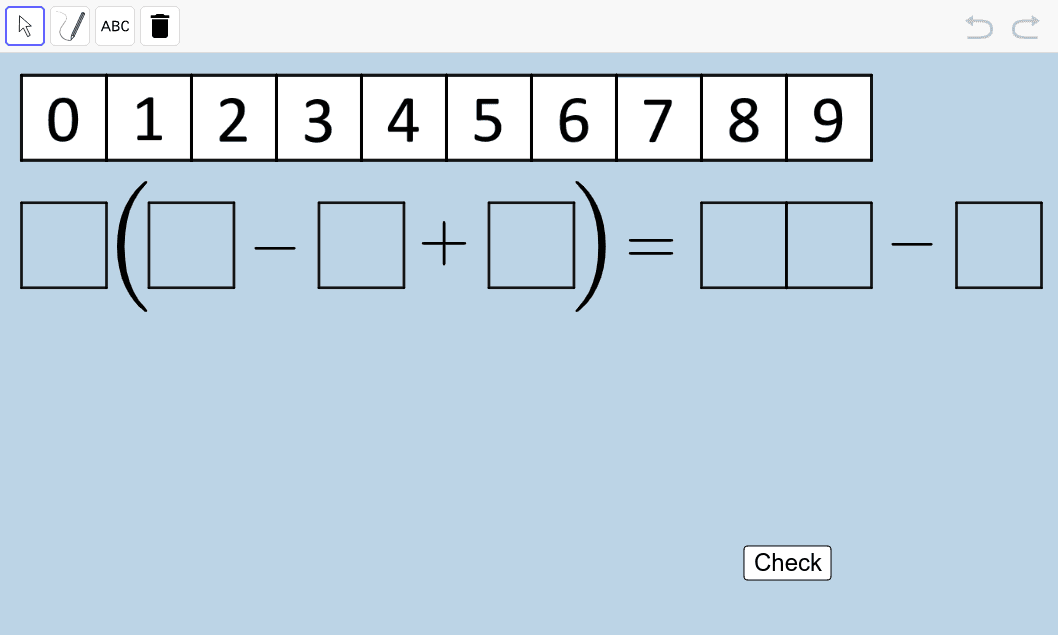 Create another true number sentence (equation) different from the two you made above.  Once you do, use the PEN or TEXT tools to clearly illustrate, step by step, how your sentence is correct.  Press Enter to start activity
