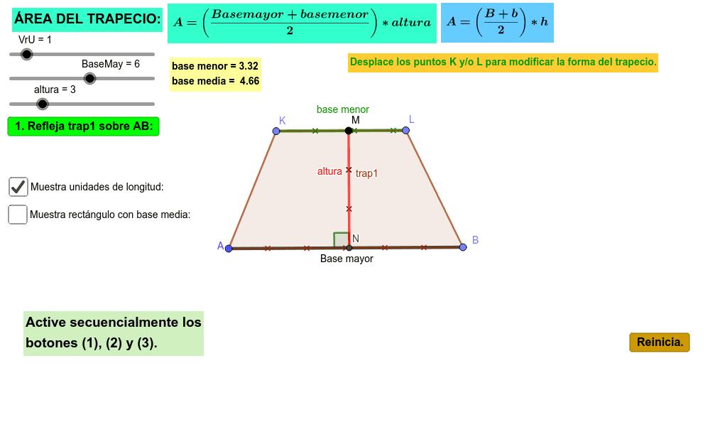 Aplicativo para analizar el área de un trapecio y su fórmula matemática  Presiona Intro para comenzar la actividad