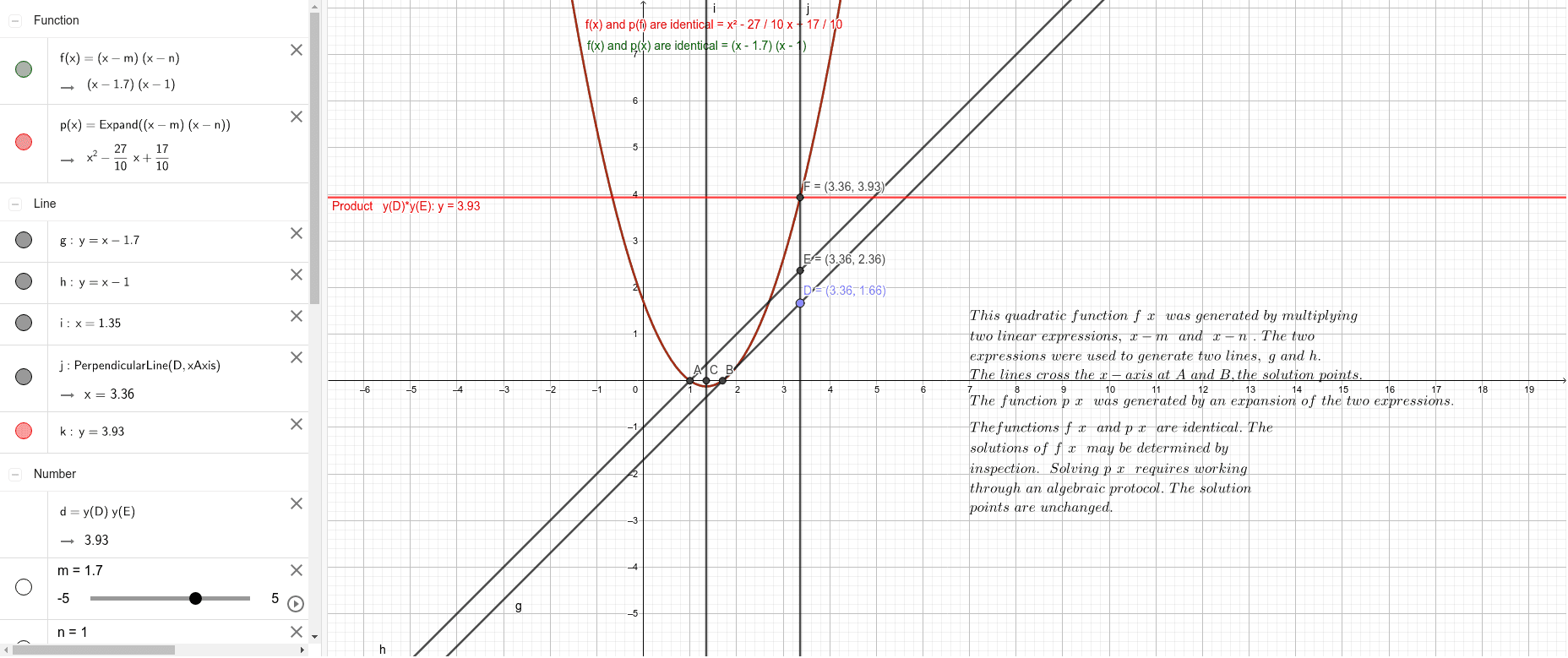 Generating a Quadratic Equation,  example Press Enter to start activity