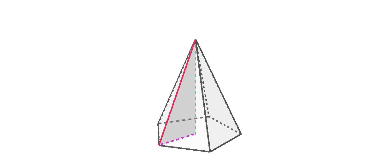 """La hauteur de la pyramide, l'arête latérale et le «rayon» de la base Tapez """"Entrée"""" pour démarrer l'activité"""