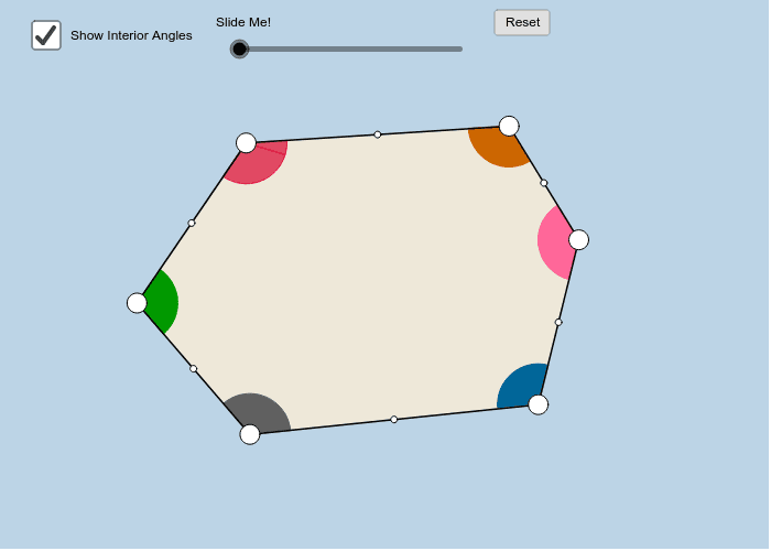 Sum of interior angles of Hexagons Press Enter to start activity