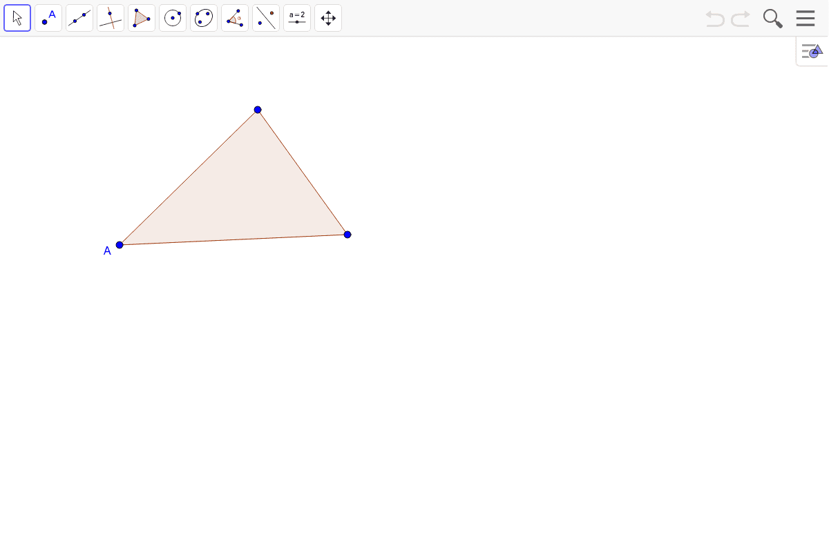 Now with a triangle. Construct a perpendicular to the side opposite A, through point A. Press Enter to start activity
